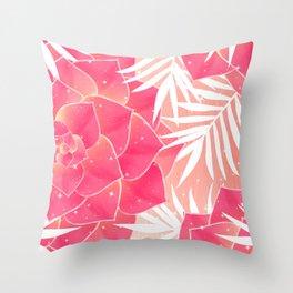 Big Dreamy Blush Echeveria Illustration Throw Pillow