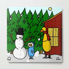 Snowman Building | Veronica Nagorny  Metal Print