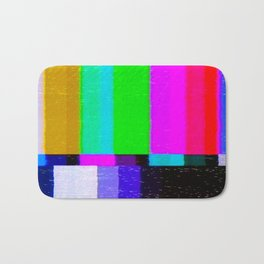 A distorted tv transmission or VHS tape, a badly eaten noisy signal of SMPTE color bars (a television screen test pattern). Vintage photo. Retro background. Bath Mat