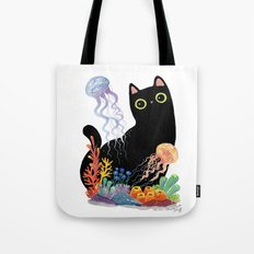 the Aquarium Cat _ Jellyfish Tote Bag