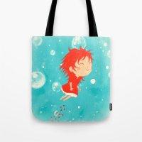 ponyo Tote Bags featuring Ponyo by Peerro