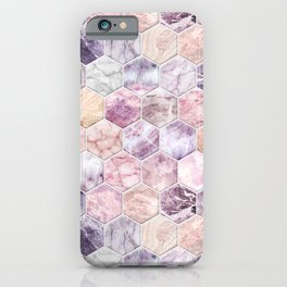 Rose Quartz and Amethyst Stone and Marble Hexagon Tiles iPhone Case