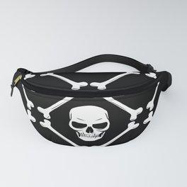 Skulls and bones white on black Fanny Pack