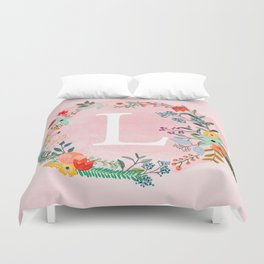 Flower Wreath with Personalized Monogram Initial Letter L on Pink Watercolor Paper Texture Artwork Duvet Cover