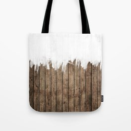 White Abstract Paint on Brown Rustic Striped Wood Tote Bag