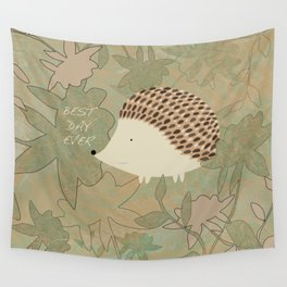 Hedgehog Best Day Ever Wall Tapestry