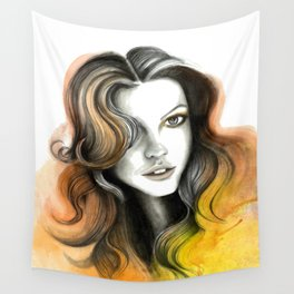 Yellow and Orange Flame Hair Wall Tapestry