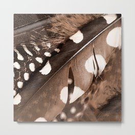 Beautiful Feathers On A Dark Brown Background #decor #buyart #society6 Metal Print