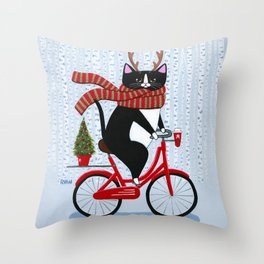 Tuxedo Cat Christmas Bicycle Ride Throw Pillow