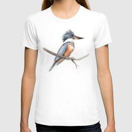 Kingfisher Bird Watercolor Illustration T-shirt