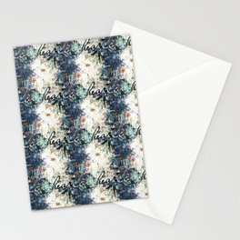 Happy Love Heart Family Pattern Blue Pastel Abstract Stationery Cards