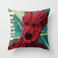 guardians of the galaxy Throw Pillows featuring Groot Guardians of the galaxy by W.B.