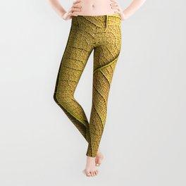 Golden yellow leaf pattern in the morning.  Leggings