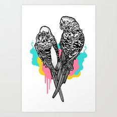 Pretty Budgies Art Print