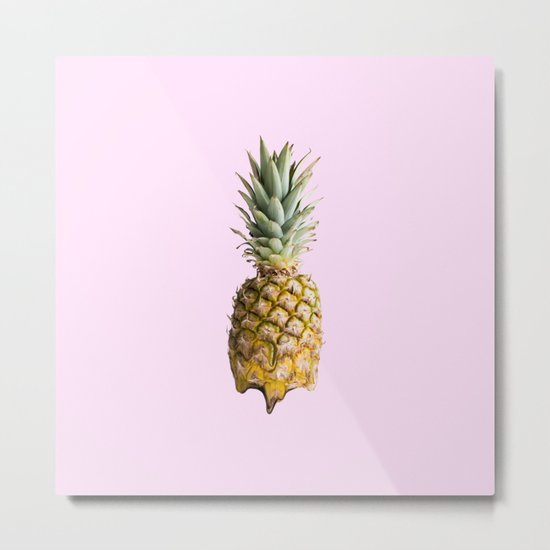 Melting Pastel Pineapple - Rose Metal Print