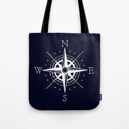 Navy Nautical - White Compass Tote Bag
