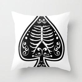 Ace of spades,Ribcage art, custom gift design Throw Pillow