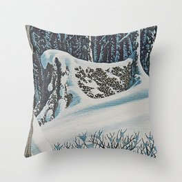 WINTER'S LAST FIREWOOD VINTAGE OIL PAINTING Throw Pillow