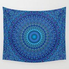 Blue Spiritual Flower Garden Mandala Wall Tapestry