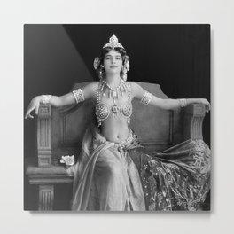Mata Hari, Famous French Dancer and Femme fatale black and white photograph / black and white photography Metal Print