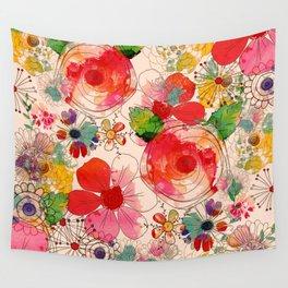 joyful floral decor Wall Tapestry