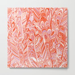 Abstract red coral lilac hand painted bohemian feathers pattern Metal Print