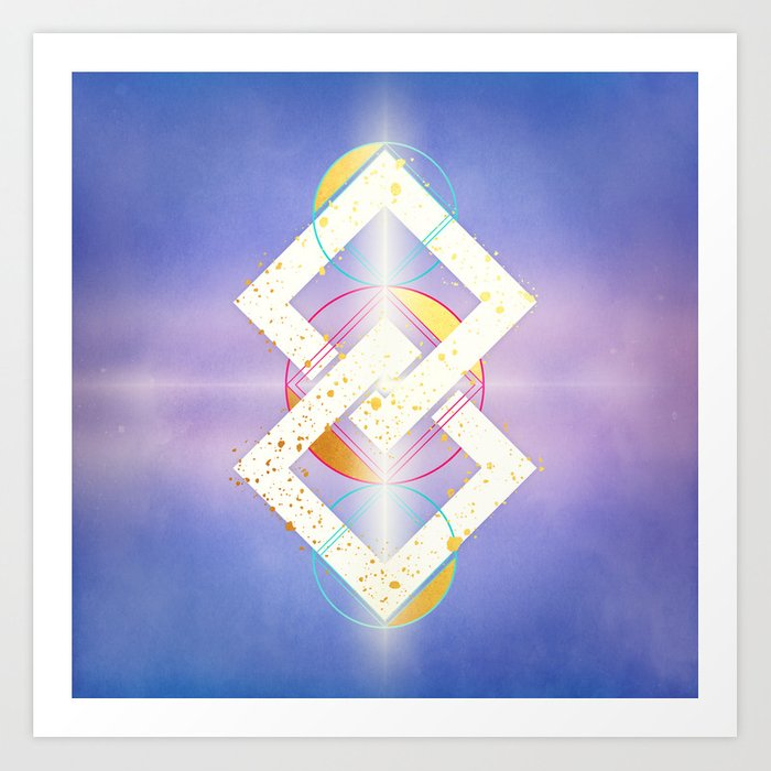 Linked Lilac Diamonds :: Floating Geometry Art Print