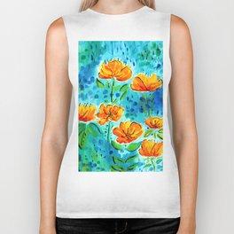 Abstract Orange Poppies Biker Tank