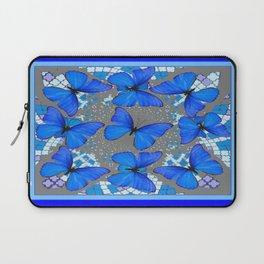 Decorative Blue Shades Butterfly Grey Pattern Art Laptop Sleeve