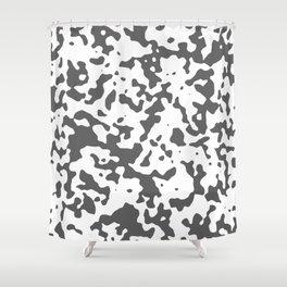 Spots - White and Dark Gray Shower Curtain