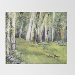 Woodland Landscape Watercolor Vermont Painting Birch Trees Spring Fields Throw Blanket