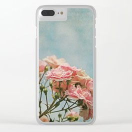 Vintage Inspired Pink Roses in Pastel Blue Sky with French Script Clear iPhone Case