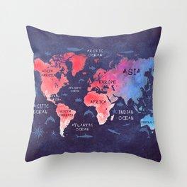 world map 44 Throw Pillow