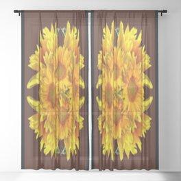 YELLOW SUNFLOWERS CHOCOLATE GARDEN ART Sheer Curtain