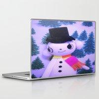 snowman Laptop & iPad Skins featuring Snowman  by Vintage  Cuteness