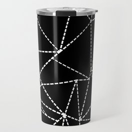 Abstract Dotted Lines White on Black Travel Mug