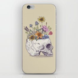 Half Skull Flowers iPhone Skin