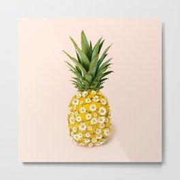 Daisy Pineapple Metal Print