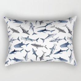 SHARKS PATTERN (WHITE) Rectangular Pillow