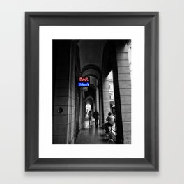 Bar Tabacchi in Bologna Black and White Color Splash Photography Framed Art Print