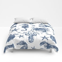 Delft Blue nautical Marine Life pattern, coastal beach Comforters