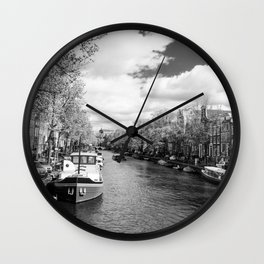 Boats on Amsterdam canal Wall Clock