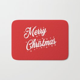 Merry Christmas with Snow Flakes on Red Background Bath Mat