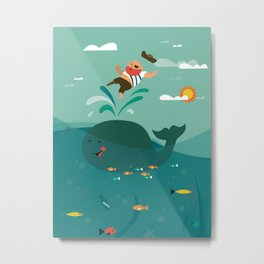 Whales and Pirates Metal Print