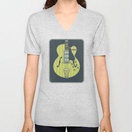 Electric Lime Archtop Guitar Unisex V-Neck
