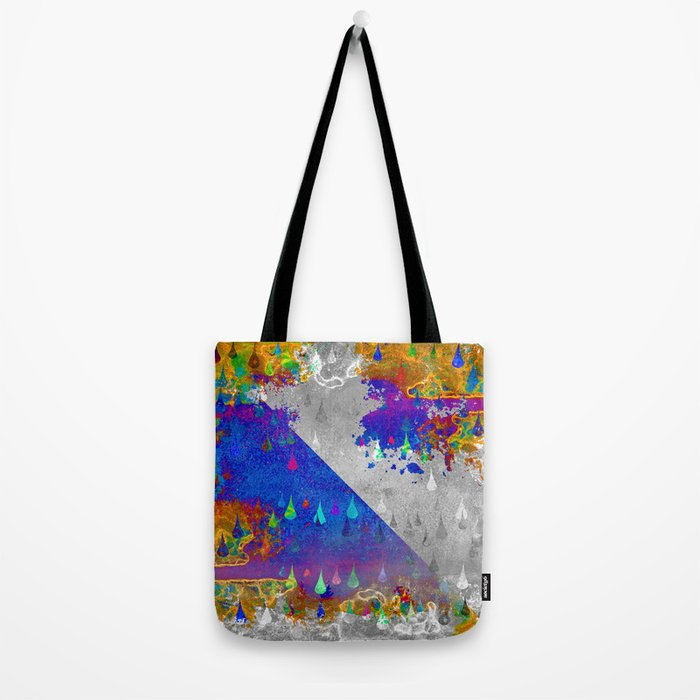 Abstract Colorful Rain Drops Design Tote Bag