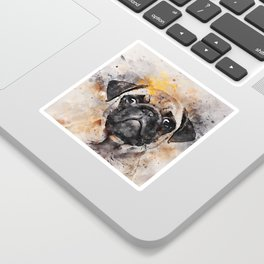 Pug Puppy Using Watercolor On Raw Canvas Sticker