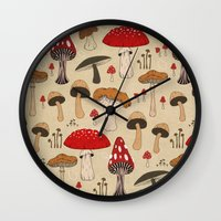 mushrooms Wall Clocks featuring Mushrooms by Lynette Sherrard Illustration and Design