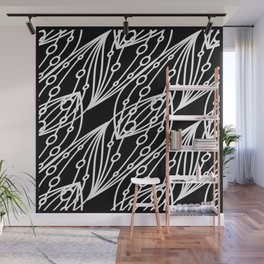 White molecular helix with diagonal circles on a black background. Wall Mural