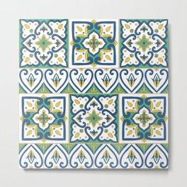 Italian Tile Pattern – Sicilian ceramic from Caltagirone Metal Print